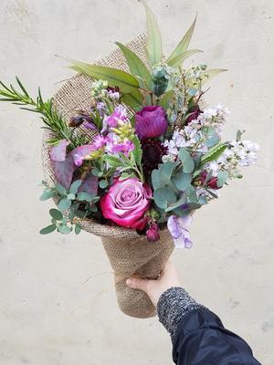 Purple seasonal bunch of flowers